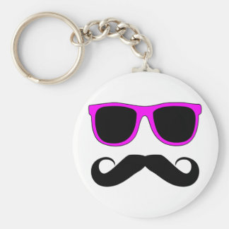 Pink Glasses Moustache Retro Basic Round Button Key Ring
