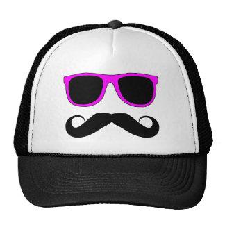Pink Glasses Mustache Retro Trucker Hat