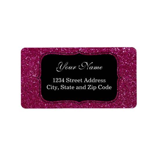 Pink Glitter Address Label