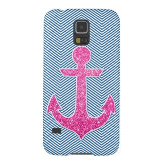 Pink glitter anchor blue chevron galaxy s5 cover