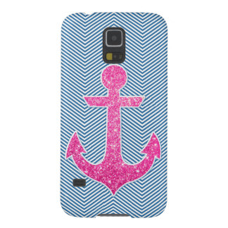 Pink glitter anchor blue chevron galaxy s5 covers