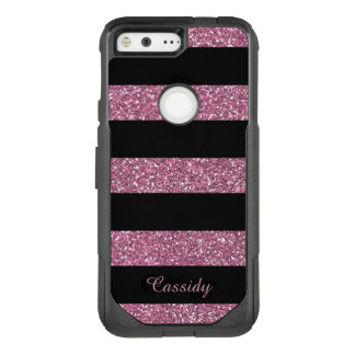 Pink Glitter and Black Stripes Girly, Personalized OtterBox Commuter Google Pixel Case