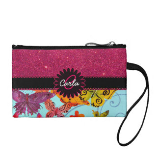 Pink Glitter and Colorful Butterfly Monogram Coin Purse