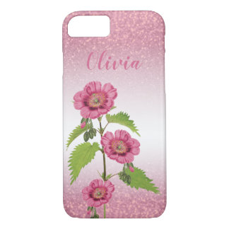 Pink Glitter and Floral - Personalize iPhone 8/7 Case