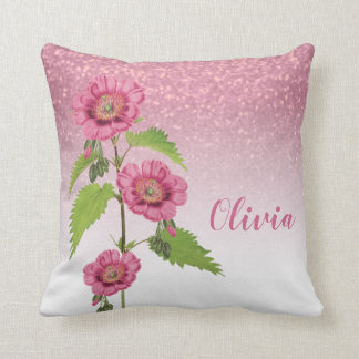 Pink Glitter and Flower - Personalize Cushion