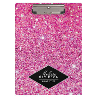 Pink Glitter and Glamour Beauty Personalized Clipboard