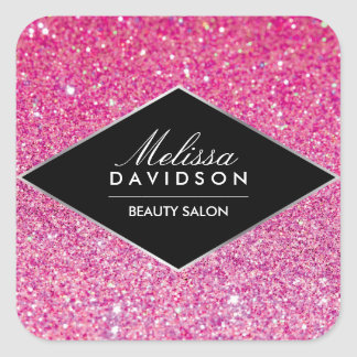 Pink Glitter and Glamour Beauty Square Sticker