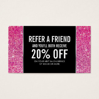 Pink Glitter and Glamour Referral Card