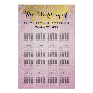 Pink Glitter and Gold Floral Wedding Seating Chart Poster