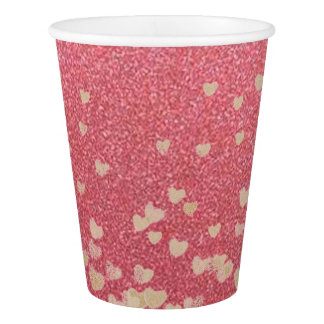 Pink Glitter and Hearts Paper Cup