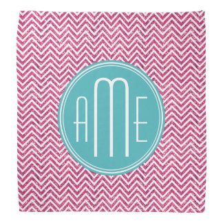 Pink Glitter and Mint Custom Monogram Bandana