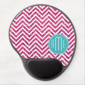 Pink Glitter and Mint Custom Monogram Gel Mouse Mat