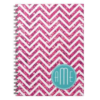 Pink Glitter and Mint Custom Monogram Spiral Notebook