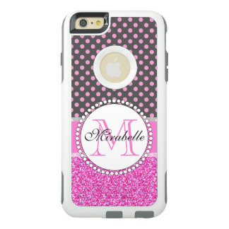 Pink Glitter and Pink Polka Dots on gray Named OtterBox iPhone 6/6s Plus Case