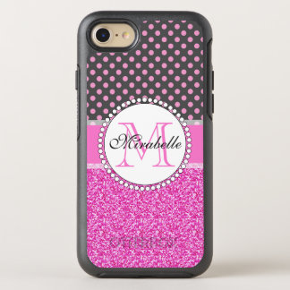 Pink Glitter and Pink Polka Dots on gray Named OtterBox Symmetry iPhone 8/7 Case