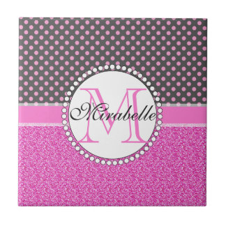 Pink Glitter and Pink Polka Dots on gray Named Tile