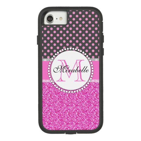 Pink Glitter and Pink Polka Dots on grey