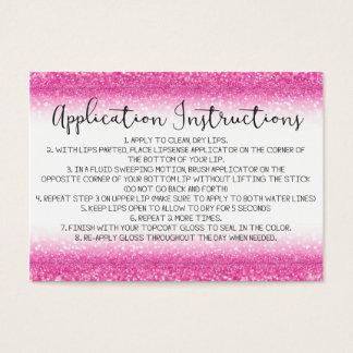 Pink Glitter Application Instructions Business Card