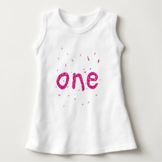 Pink Glitter Baby Girl 1st Birthday Party Top ONE
