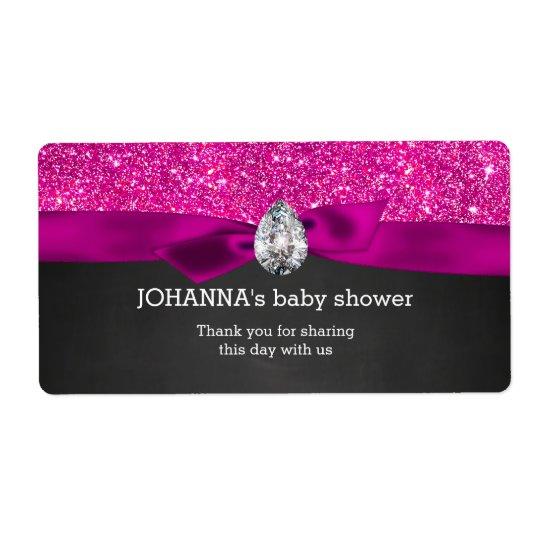 Pink Glitter Baby Shower Chalkboard Water Bottle Shipping Label