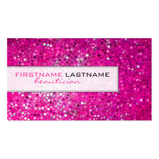 Pink Glitter Beautician Business Card