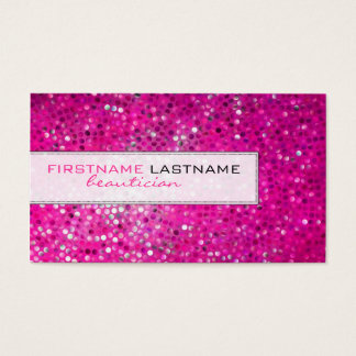 Pink Glitter Beautician Business Card