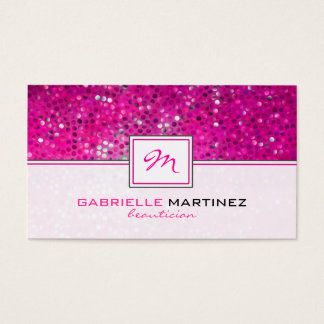 Pink Glitter Beautician Card Monogram