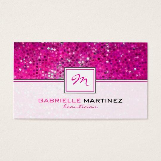 Pink Glitter Beautician Card Monogram