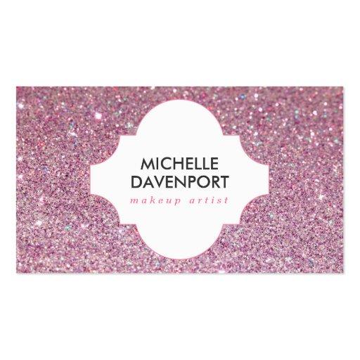Pink glitter beauty makeup artist salon business card template