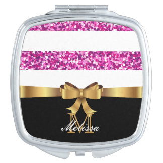 PINK GLITTER  BLACK AND WHITE GOLDEN BOW MONOGRAM TRAVEL MIRROR