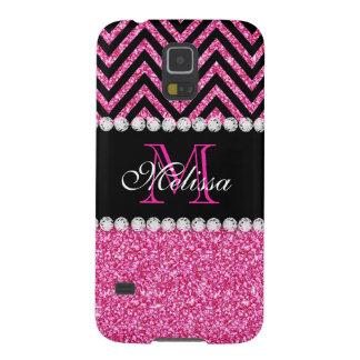 Pink Glitter Black Chevron Monogram Cases For Galaxy S5