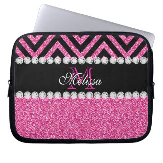 Pink Glitter Black Chevron Monogram Laptop Sleeve