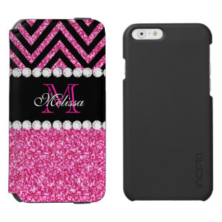 Pink Glitter Black Chevron Monogrammed Incipio Watson™ iPhone 6 Wallet Case