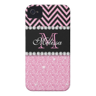 PINK GLITTER BLACK CHEVRON MONOGRAMMED iPhone 4 Case-Mate CASES