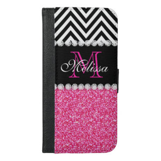 PINK GLITTER BLACK CHEVRON MONOGRAMMED iPhone 6/6S PLUS WALLET CASE