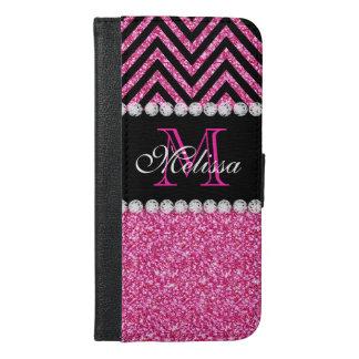 Pink Glitter Black Chevron MonogramMED iPhone 6/6s Plus Wallet Case