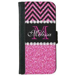 Pink Glitter Black Chevron Monogrammed iPhone 6 Wallet Case