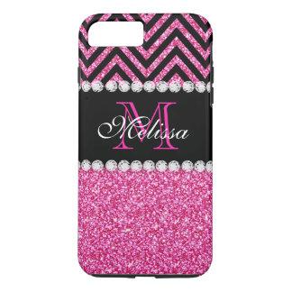 Pink Glitter Black Chevron MonogramMED iPhone 7 Plus Case