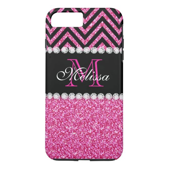 Pink Glitter Black Chevron MonogramMED iPhone 8 Plus/7
