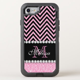 PINK GLITTER BLACK CHEVRON MONOGRAMMED OtterBox DEFENDER iPhone 8/7 CASE