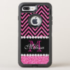 Pink Glitter Black Chevron Monogrammed OtterBox Defender iPhone 8 Plus/7 Plus Case