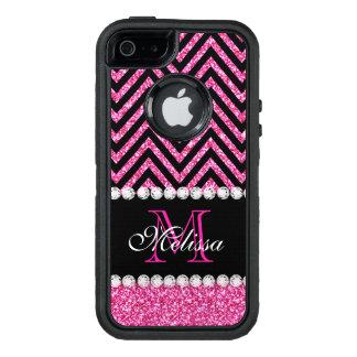Pink Glitter Black Chevron Monogrammed OtterBox iPhone 5/5s/SE Case