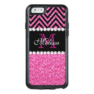 Pink Glitter Black Chevron Monogrammed OtterBox iPhone 6/6s Case