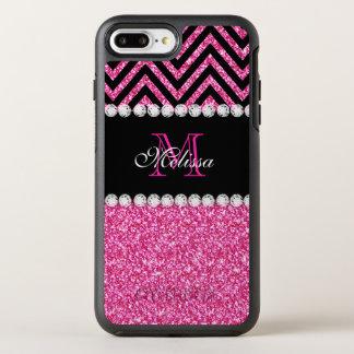 Pink Glitter Black Chevron Monogrammed OtterBox Symmetry iPhone 7 Plus Case