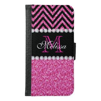 Pink Glitter Black Chevron Monogrammed Samsung Galaxy S6 Wallet Case