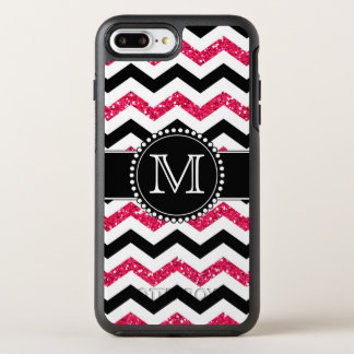 Pink Glitter, Black Chevron, Tough, Monogrammed OtterBox Symmetry iPhone 8 Plus/7 Plus Case