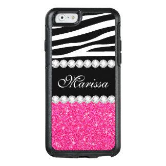 Pink Glitter Black White Zebra OtterBox iPhone 6/6s Case