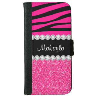 Pink Glitter Black Zebra iPhone 6 Wallet Case