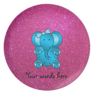 Pink glitter blue elephant plate