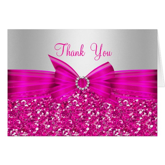 Pink Glitter & Bow Thank You Card